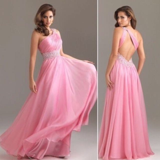 New pink backless formal dress