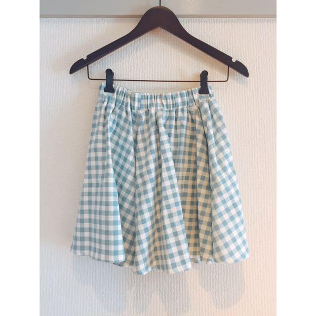 🇯🇵olive des olive淺藍格紋圓裙短裙
