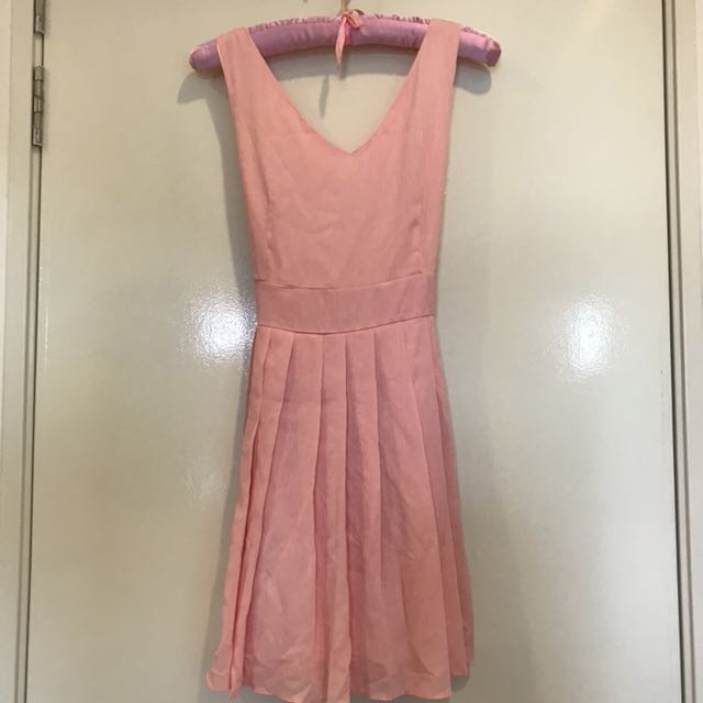Pastel Pink Sleeveless Dress With Back Ribbon