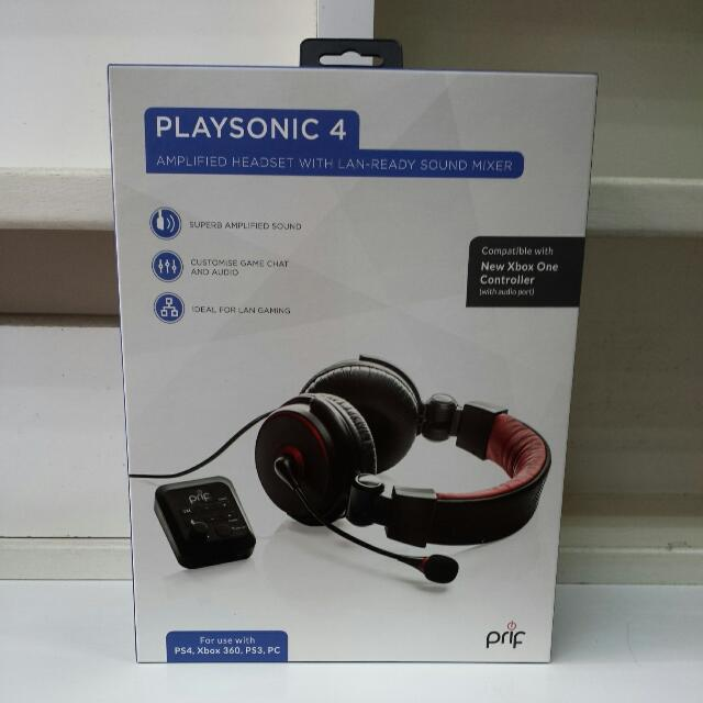 Playsonic 4 Amplified Headset With Lan-ready Sound Mixer For PS4/PS4/XBOX One/XBOX 360/PC