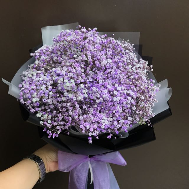 Purple baby breath mini bouquet