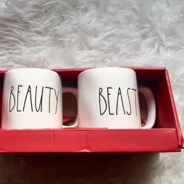 RAE DUNN Beauty + Beast Mug Set