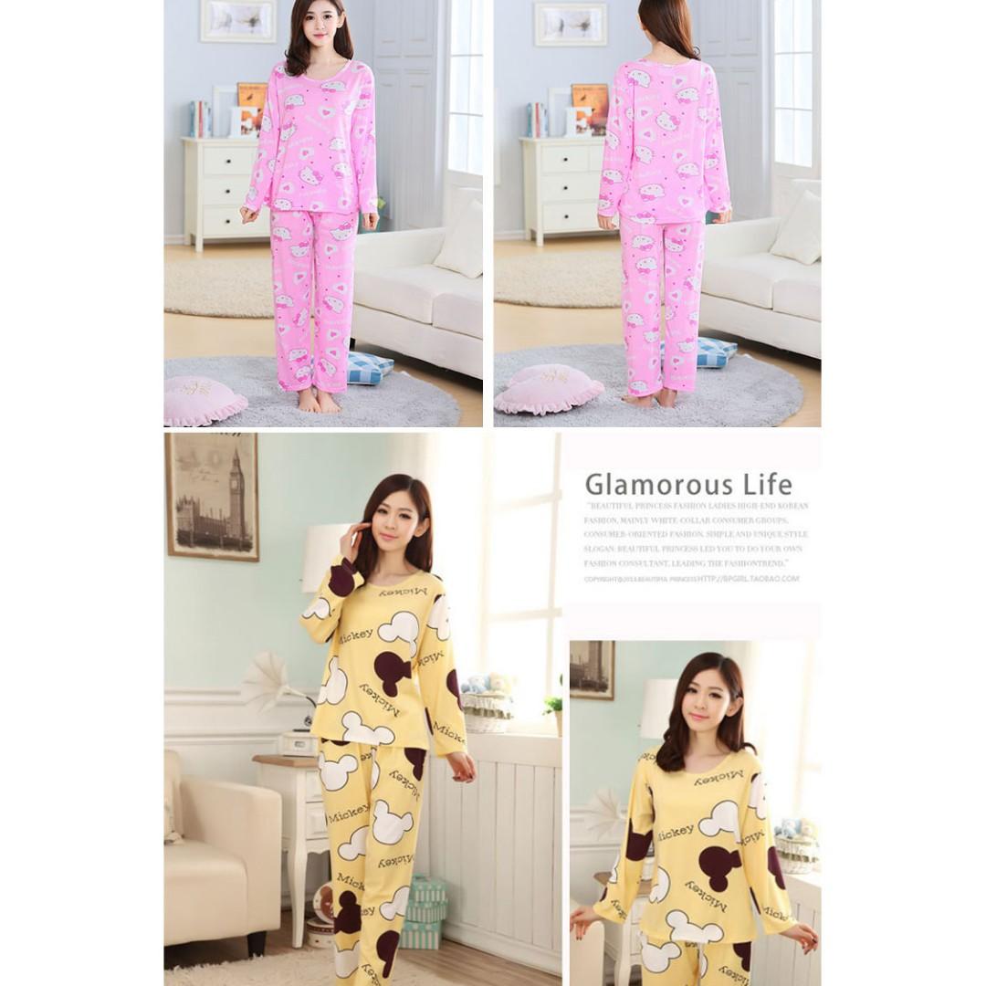... latest design ef6b0 102b8 READY STOCK Long Sleeve Milk Silk Cute Pyjamas Pajamas Set Baju Tidur ...
