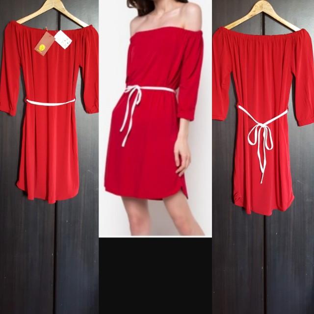 🆕️HUXLEY Red Off Shoulder Dress
