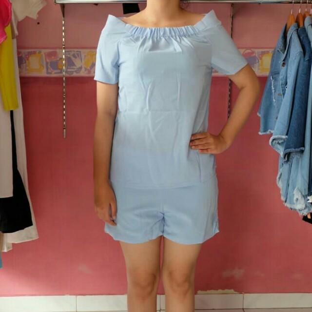 Sabrina set (setelan) in pastle color blue and pink