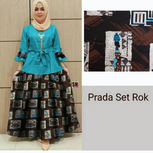 SALE!!!! Hp 3446 skirt prada set 2 in 1 setelan blouse dan rok wanita