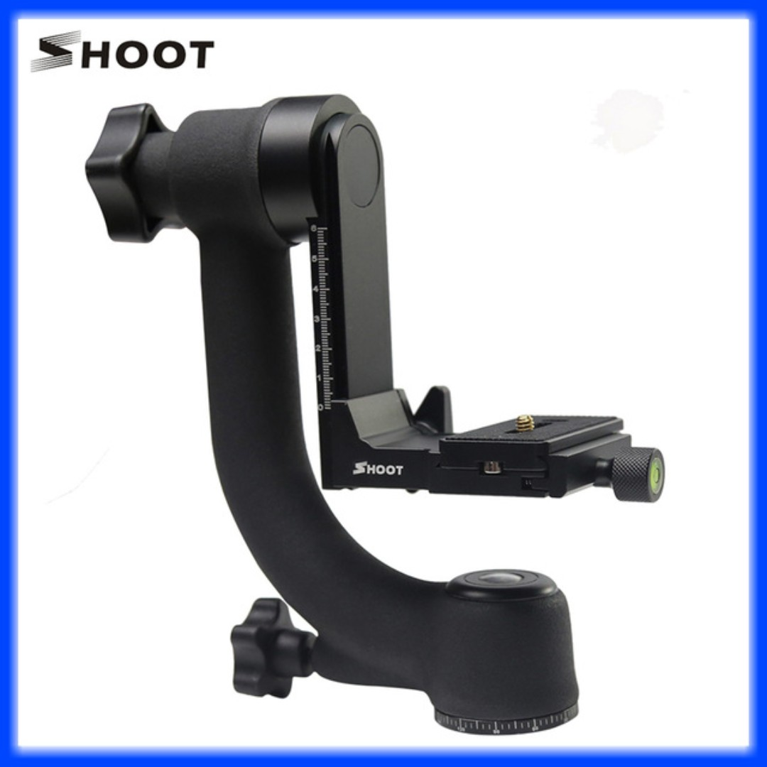 SHOOT 360 Degree Panoramic Gimbal Tripod Head with Arca-Swiss Standard 1/4'' Quick Release Plate Bubble Level for Digital SLR Camera