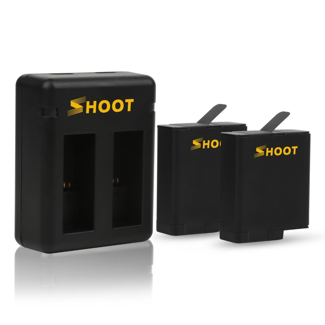 Shoot Dual Charger with 2 Batteries for Gopro Hero 6/5