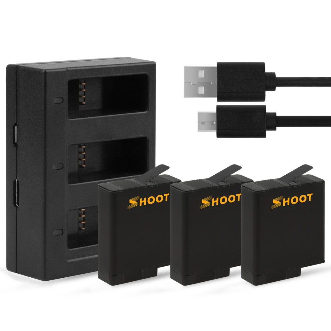Shoot Triple Charger with 3 Batteries for Gopro Hero 6/5
