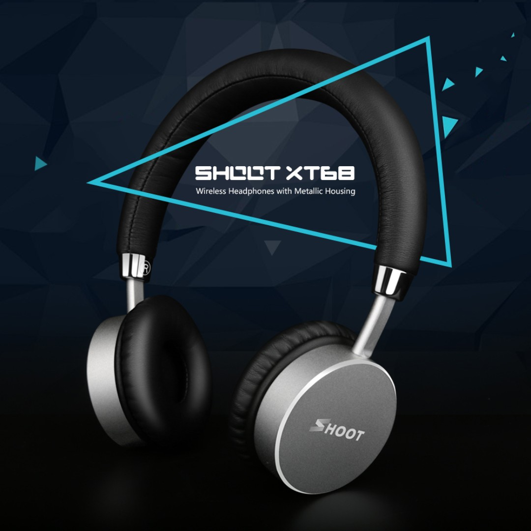 SHOOT XT68 Wireless On-Ear Bluetooth 4.0 Headphone with Microphone Power Bass (NFC, 15 Hours Runtime Multi Function)