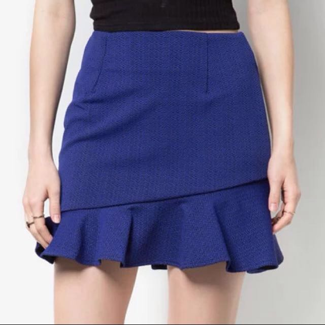 Something Borrowed Blue Textured Fluted Hem Skirt
