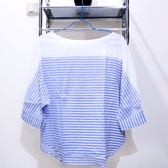 Stripe Maker's Shirt Cotton Blouse