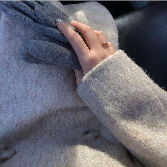 Studiodoe小安ig款私服+連線款 雜杏色鬚鬚排扣大衣