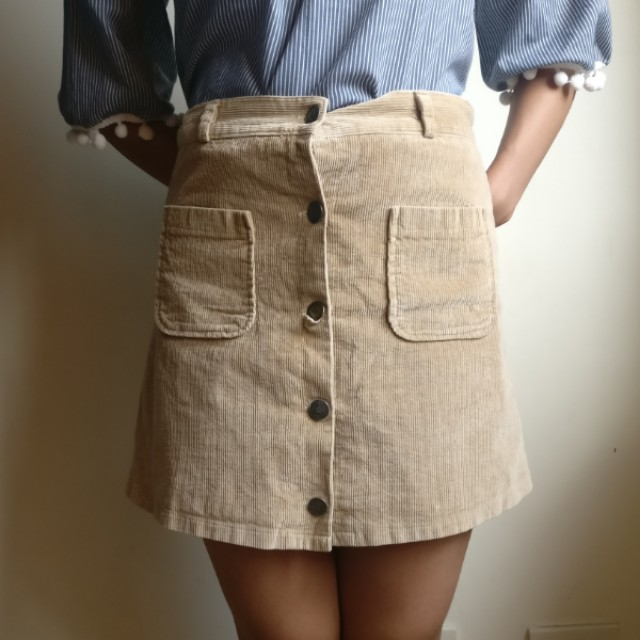High Waist Suede A-Line Skirt