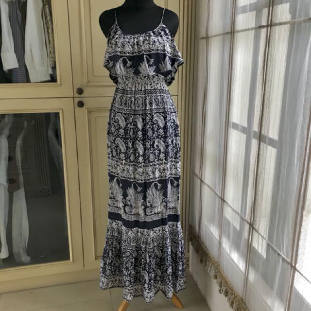 Summer dress dark blue and white