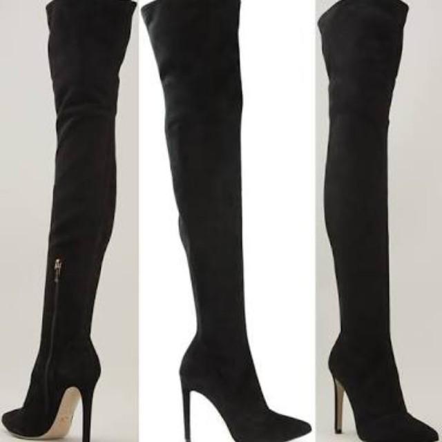 Thigh High Suede Stiletto Boots