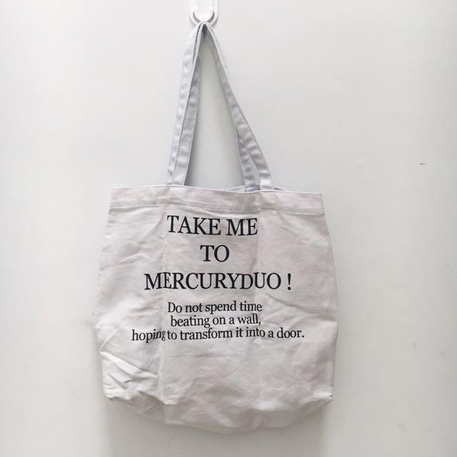 Tote bag denim soft blue mercuryduo