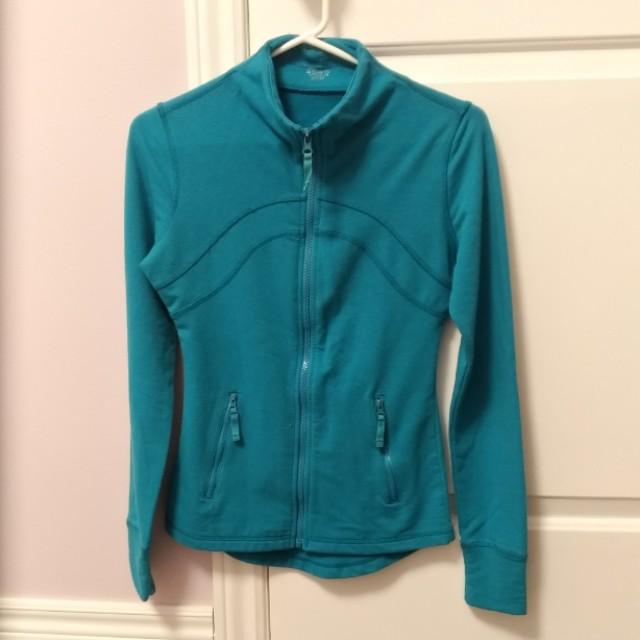 Turquoise Blue Sweater Zip-Up Jacket Activewear