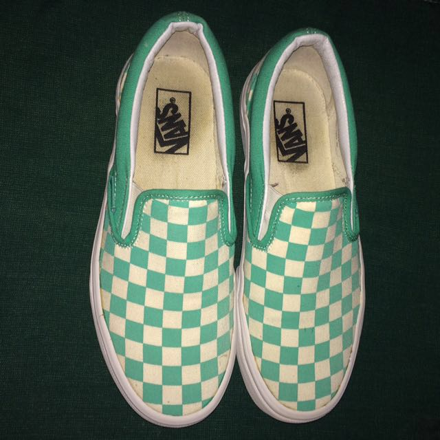 Vans Classic Slip On Checkerboard Aqua Green/White