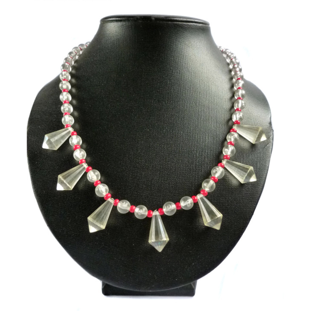 Vintage 1960s Hong Kong Clear Beaded Necklace, nk1066-c
