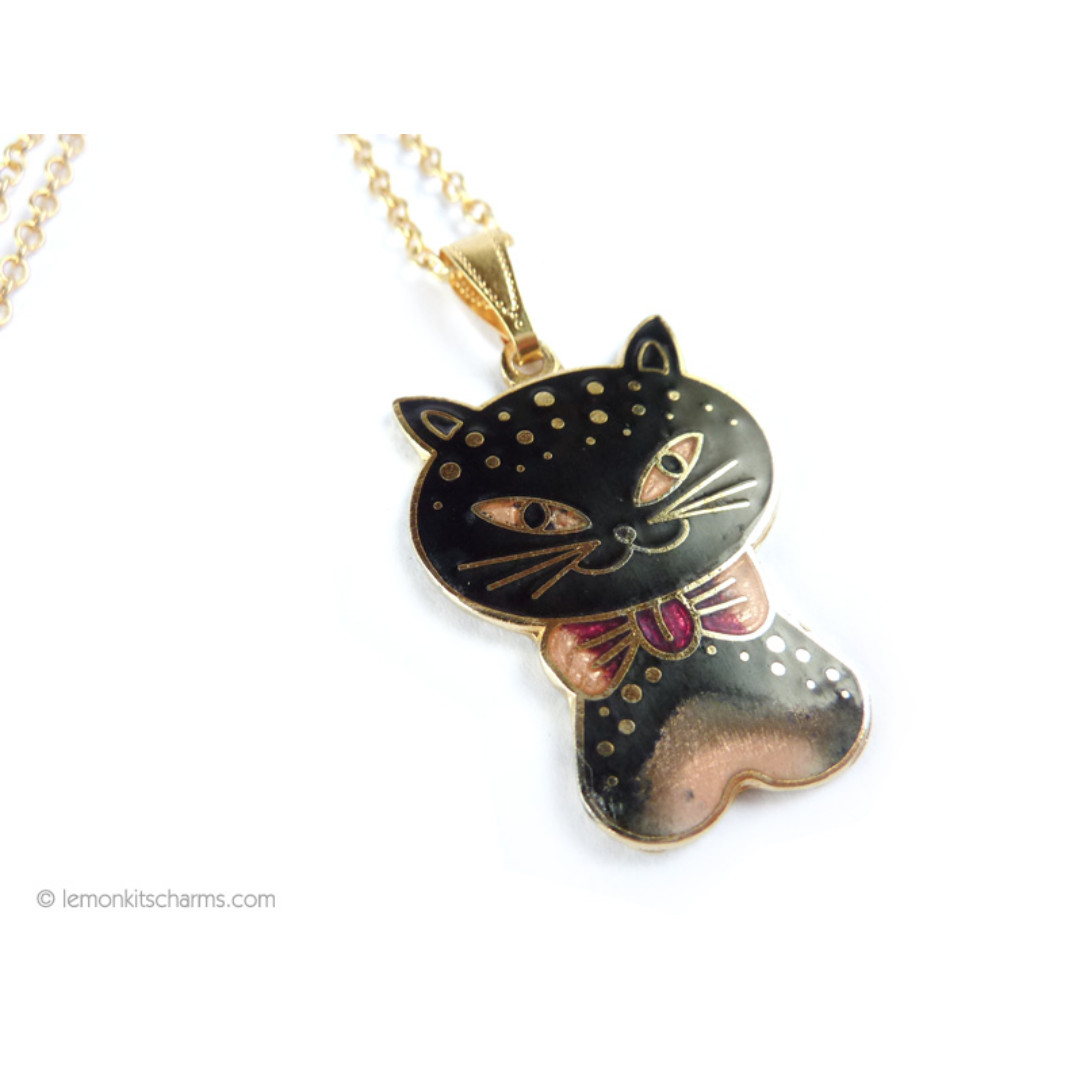 Vintage Cloisonne Enamel Cat Pendant Necklace, nk1065-c