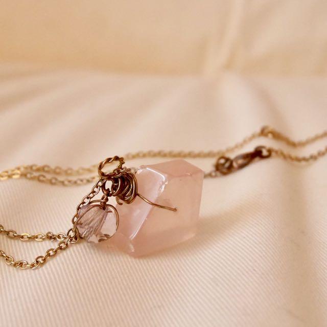 Vintage rose quartz with rose gold necklace