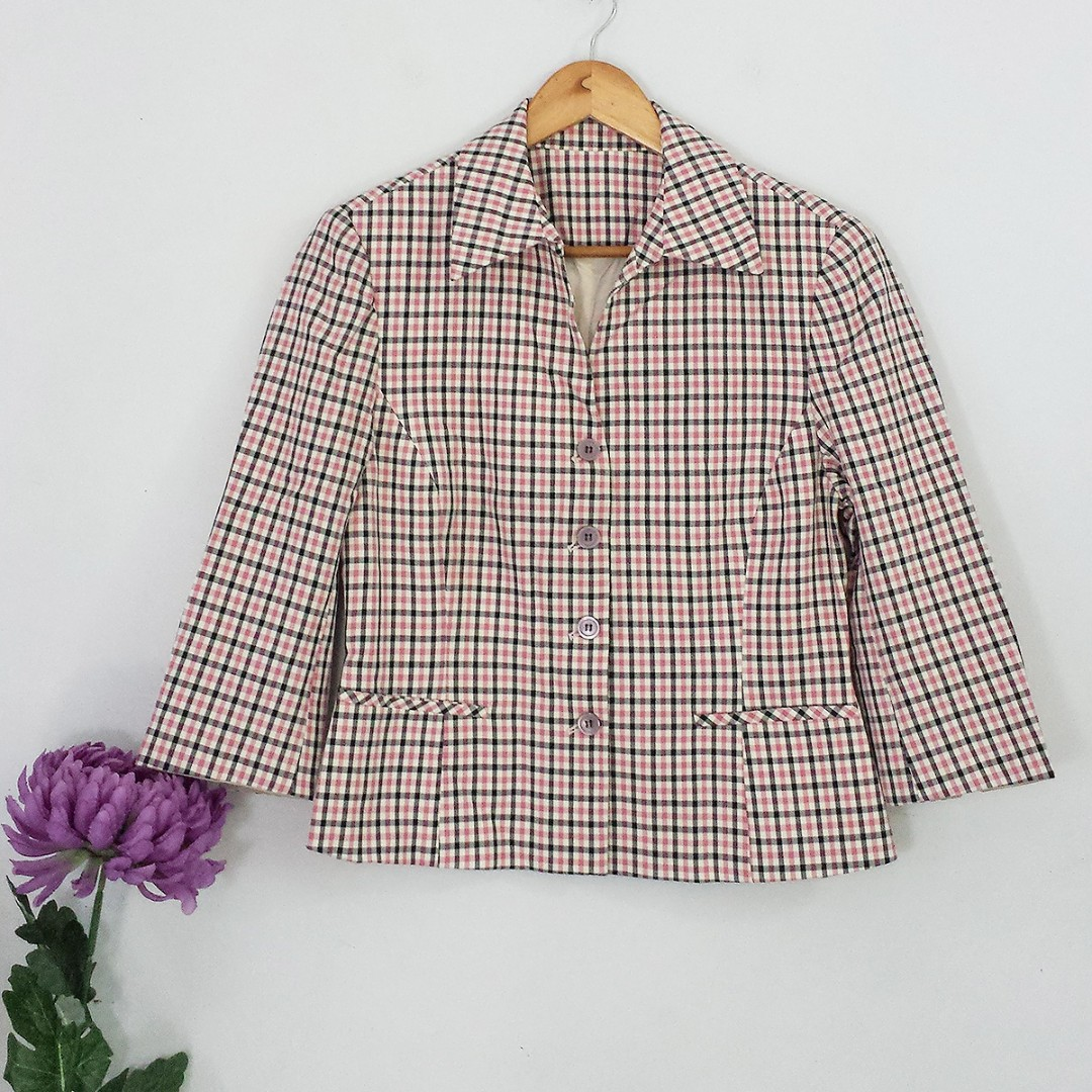 Vintage Style White & Pink Plaid Topper Jacket