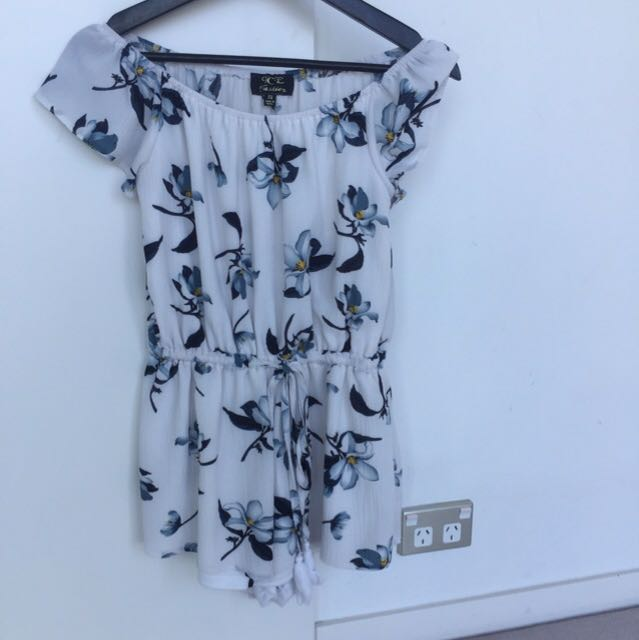 White Foral Playsuit size 6