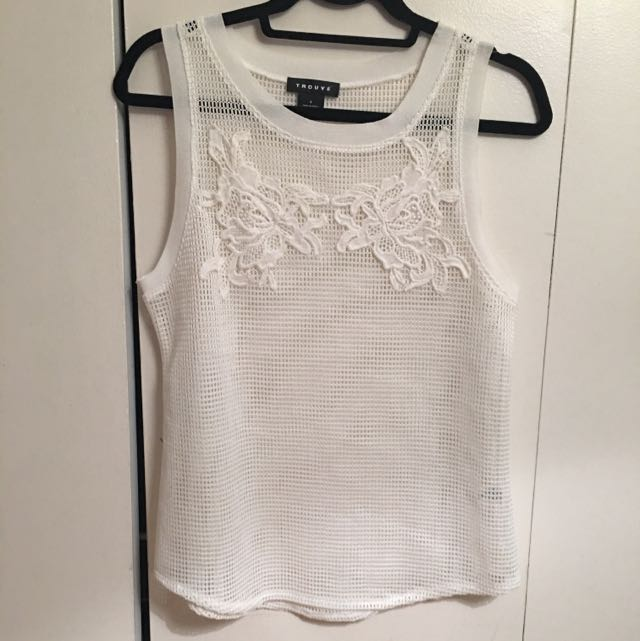 White Mesh Tank With Floral Detail