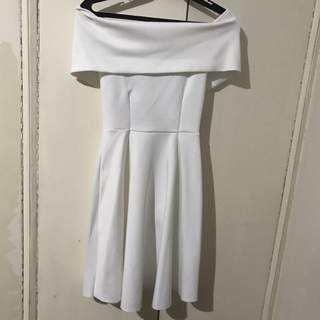 White Off Shoulder Neoprene Dress
