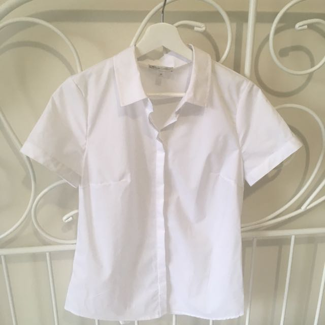 White short sleeve plain blouse
