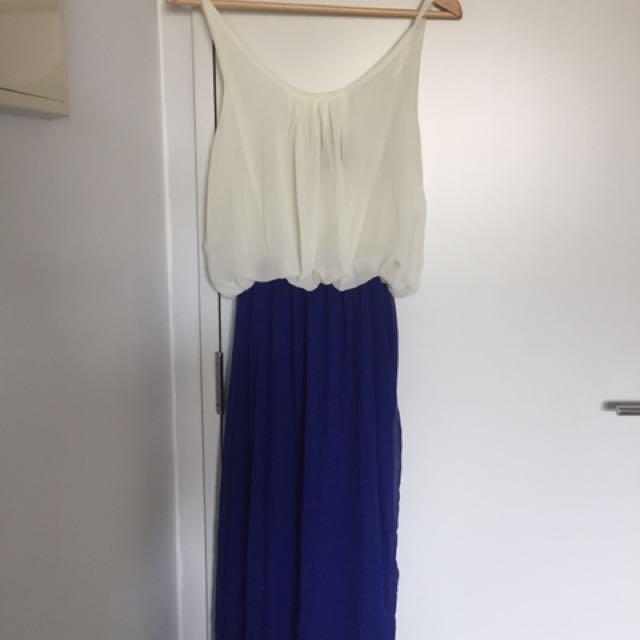 White/Blue Chiffon Dress - Stretchable