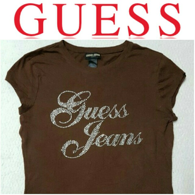 -Yunik- Authentic GUESS Embellished Brand Name Tee