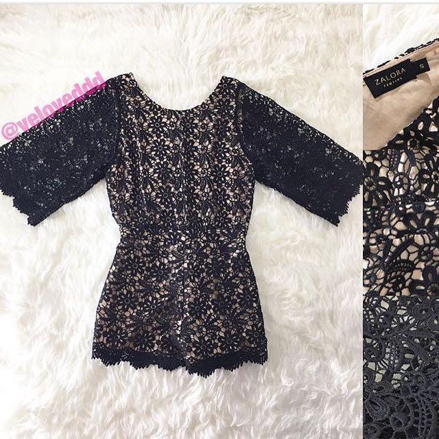 Zalora festive black crochet prada flare sleeve romper