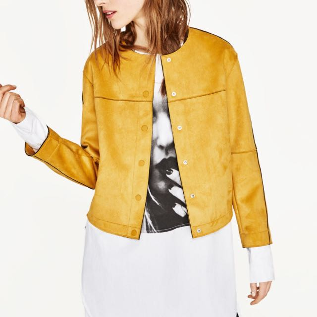 e674be0f Zara Brand New Suede-Effect Jacket, Women's Fashion, Clothes ...
