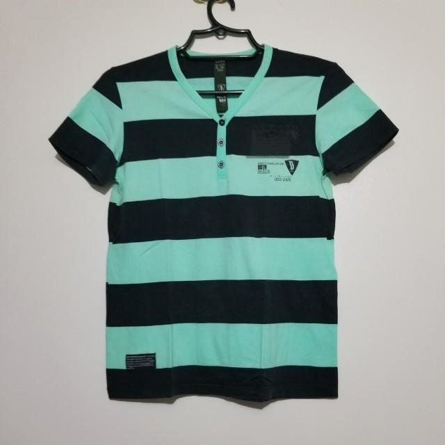 Zara Men Striped V-neck Shirt