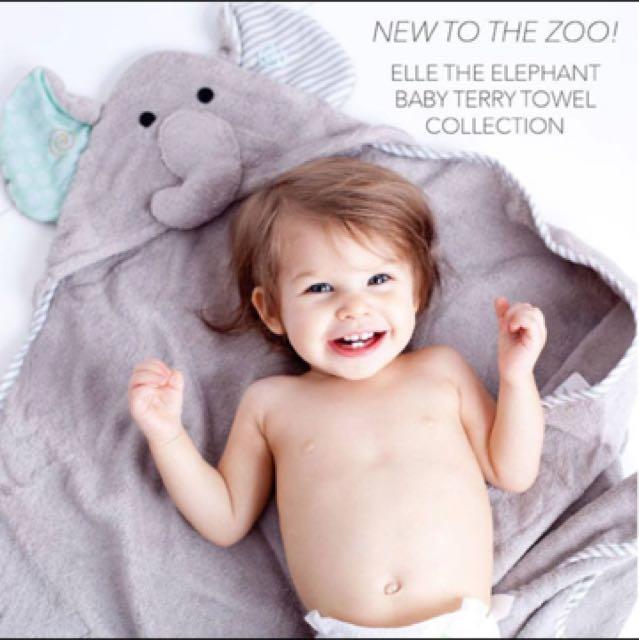 美國ZOOCCHINI大象款連帽浴巾 毯子