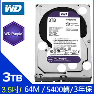 (新進現貨,破盤下殺!!!) WD 威騰 Purple 3TB 3T 3.5吋 紫標 監控 內接 硬碟 / 另有1TB 2TB