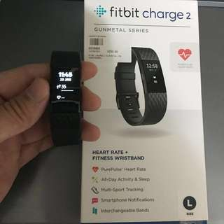 Size L Fitbit Charge 2 Gunmetal series (Full black)