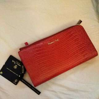Massimo Dutti 橙紅色長銀包 women's red wallet