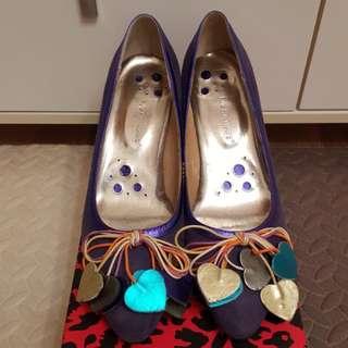 麖皮心心紫色鞋