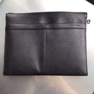 Hush Puppies Pouch Bag Purse Black Genuine Leather