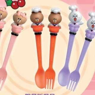 7-11 Le Creuset & Line friends 叉匙餐具 (一套3對)