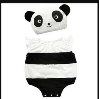 15674C Panda Sleveless Romper With Hat