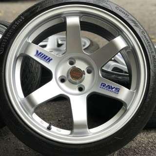Te37sl 17 inch sports rim vios tyre 70% . Khau khau mantop