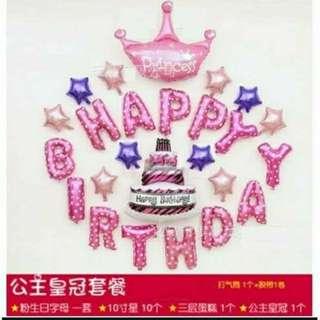 公主皇冠生日氣球 派對氣球 週歲佈置