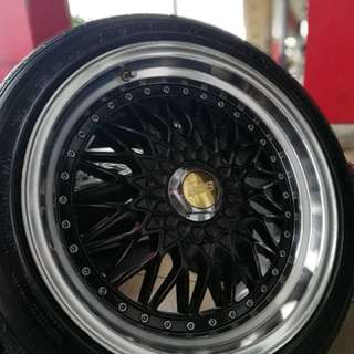 Bbs rs 17 inch sports rim persona tyre 70%. Black happy khau