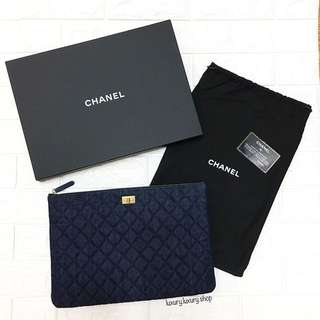 CHANEL Denim Large Clutch