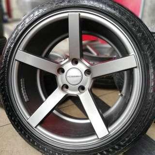 Vossen cv3 17 inch sports rim exora tyre 70% .