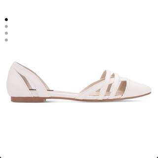 BNIB Zalora Cut Out Pointed Toe Flats (White)